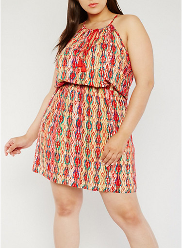 Plus Size Printed Tank Dress with Rope Tie Front,MULTI PINK,large