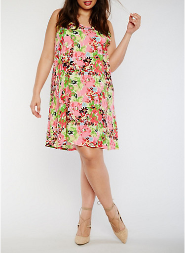 Plus Size Sleeveless Printed Shift Dress,PINK/GREEN,large