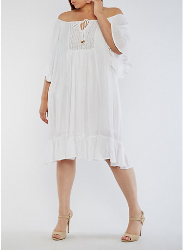 Plus Size Off the Shoulder Peasant Dress,WHITE,large