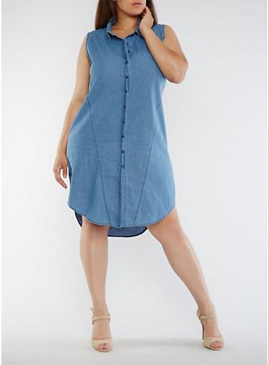 Plus Size Sleeveless Denim Shirt Dress,MEDIUM WASH,large