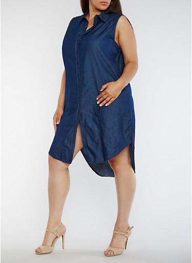 Plus Size Sleeveless Denim Shirt Dress - Rainbow