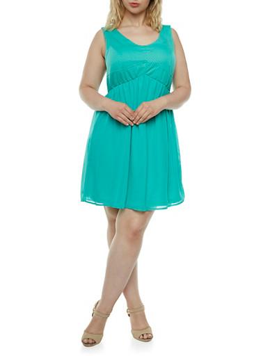 Plus Textured Knit Dress with Chiffon Skirt,MINT,large