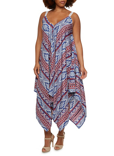 Plus Size Oversize Shift Dress in Ornate Print,NAVY,large