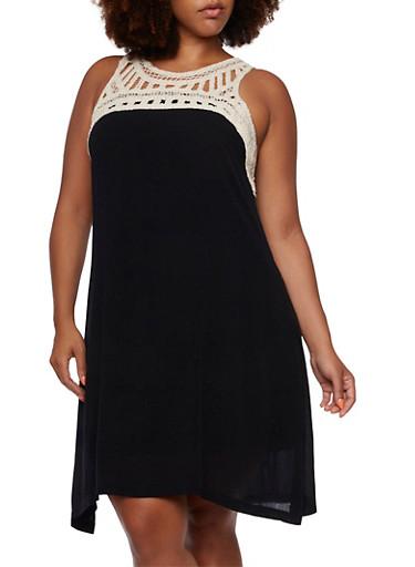 Plus Size Sleeveless Dress with Crochet Trim,BLACK,large