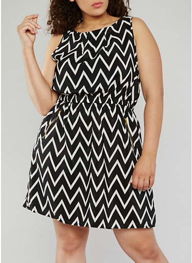 Plus Size Sleeveless Printed Dress,BLACK/WHITE,large