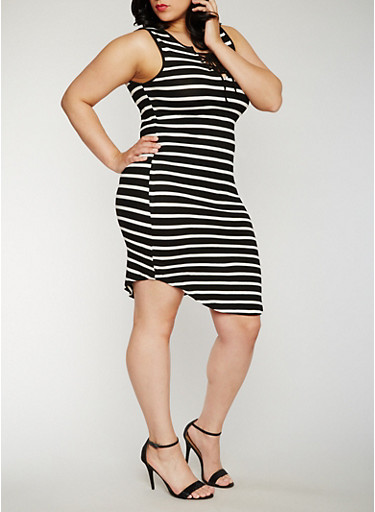 Plus Size Striped Lace Up Tank Dress,BLACK,large