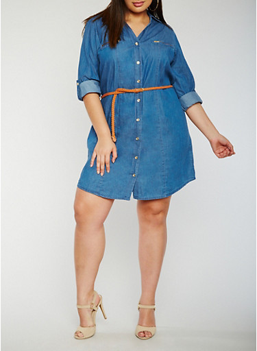 Plus Size Button Front Belted Denim Shirt Dress,MEDIUM WASH,large