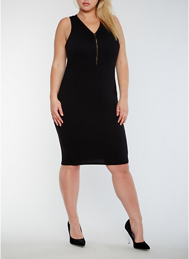 Plus Size Sleeveless Mid Zip Bodycon Dress,BLACK,large