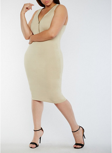 Plus Size Sleeveless Mid Zip Bodycon Dress,BONE,large