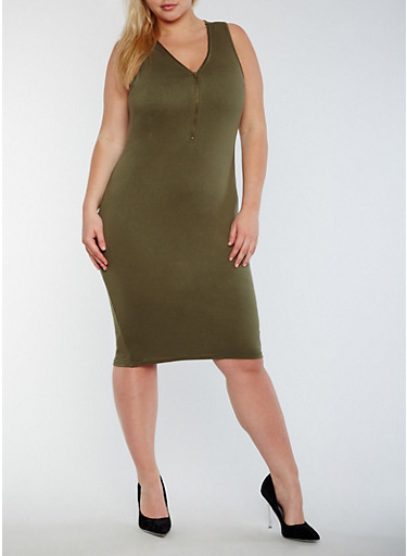 Plus Size Sleeveless Mid Zip Bodycon Dress,OLIVE,large