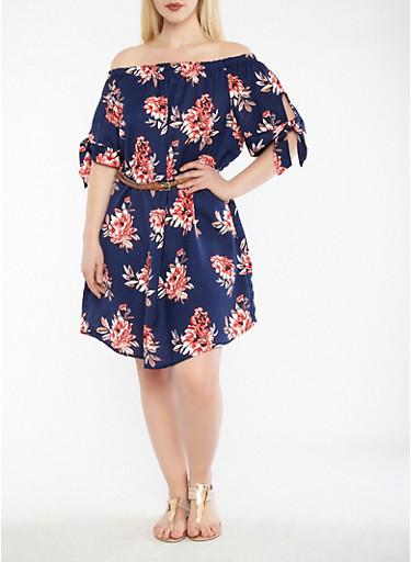 Plus Size Belted Floral Off the Shoulder Dress,NAVY/CORAL,large