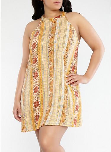 Plus Size Printed Trapeeze Dress,GOLD,large