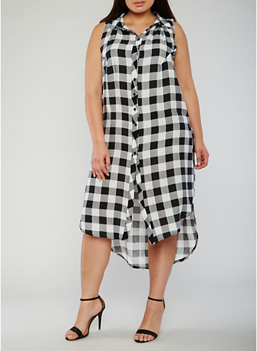 Plus Size Sleeveless Plaid Button Front Dress,BLACK/WHITE,large