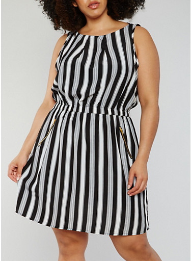 Plus Size Sleeveless Striped Shift Dress,BLACK/WHITE,large