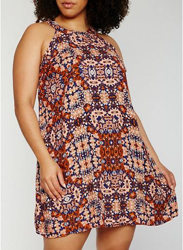Plus Size Sleeveless Printed Sundress,MAUVE,large