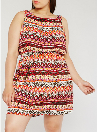 Plus Size Sleeveless Printed Dress with Zipper Accent,ORANGE,large