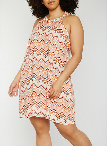 Plus Size Sleeveless Printed Shift Dress,BEIGE,large