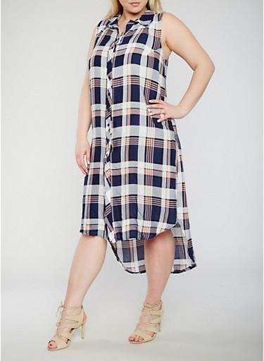 Plus Size Plaid Button Front High Low Shirt Dress,NAVY,large