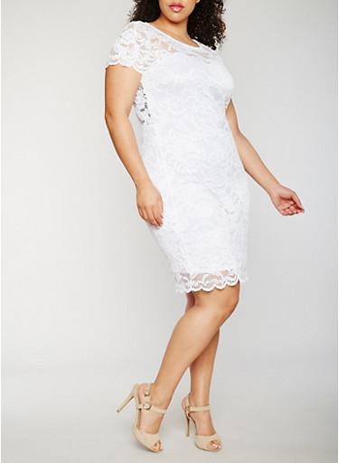 Plus Size Short Sleeve Lace Dress,WHITE,large