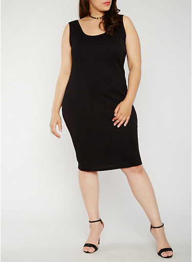 Plus Size Rib Knit Tank Dress,BLACK,large