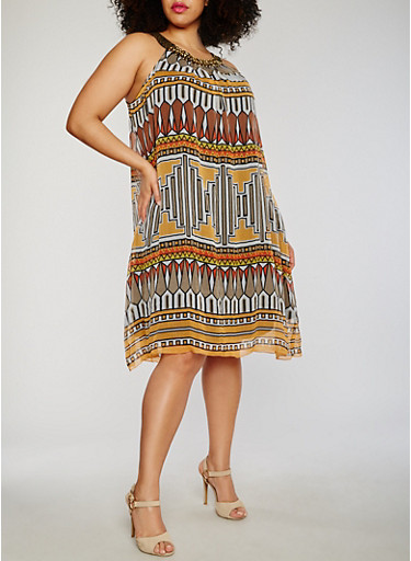 Plus Size Printed Embroidered Halter Neck  Dress,RUST,large