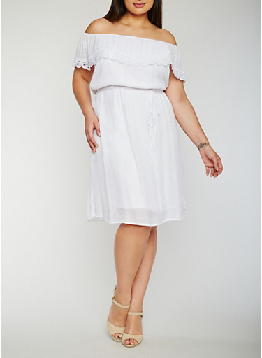Plus Size Off the Shoulder Belted Peasant Dress,WHITE,large