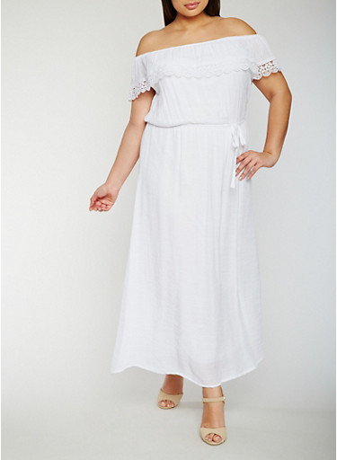 Plus Size Off the Shoulder Maxi Dress with Crochet Overlay,WHITE,large