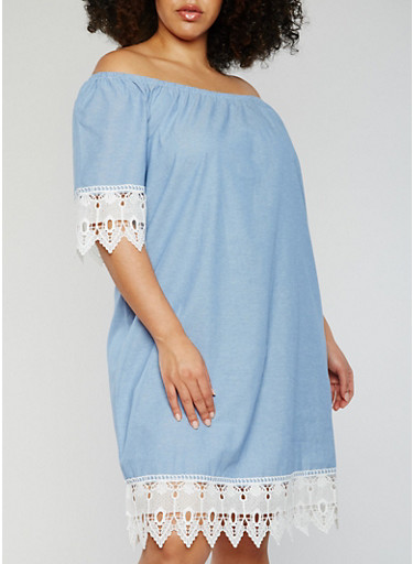 Plus Size Off the Shoulder Chambray Dress with Crochet Trim,BLUE,large