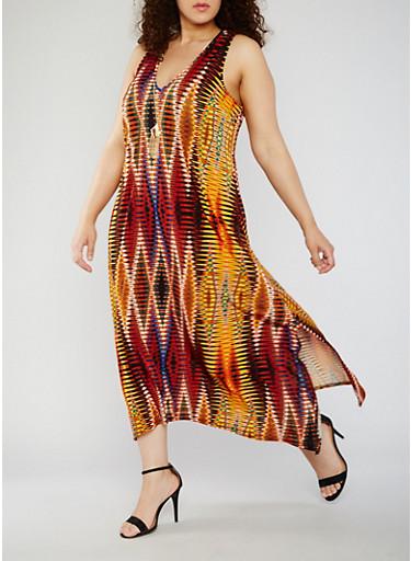 Plus Size Sleeveless Printed Maxi Dress with Necklace,ORANGE MUSE,large