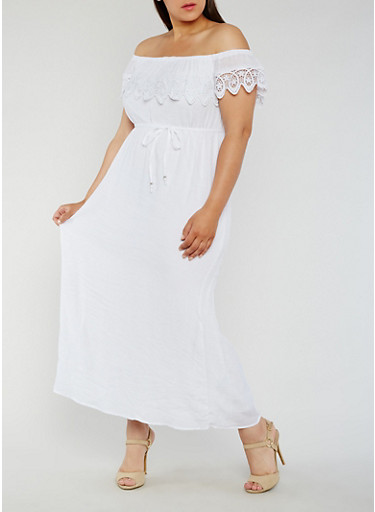 Plus Size Off the Shoulder Maxi Dress with Crochet Trim,WHITE,large