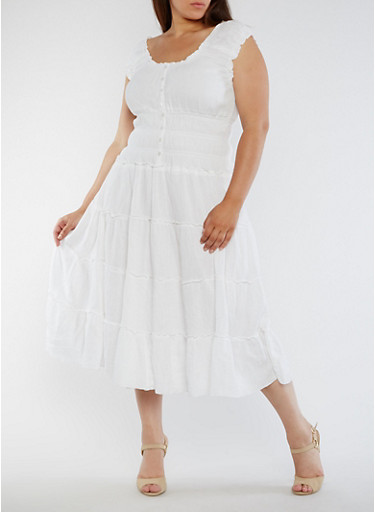 Plus Size Sleeveless Tiered Peasant Dress,WHITE,large