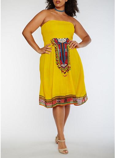Plus Size Smocked Dashiki Print Dress,GOLD,large