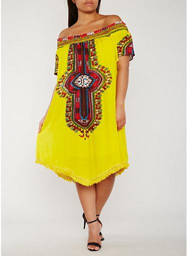 Plus Size Off the Shoulder Dashiki Print Dress,GOLD,large
