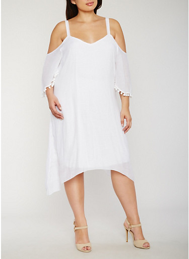 Plus Size Gauzy Cold Shoulder Dress with Pom Pom Trim,WHITE,large