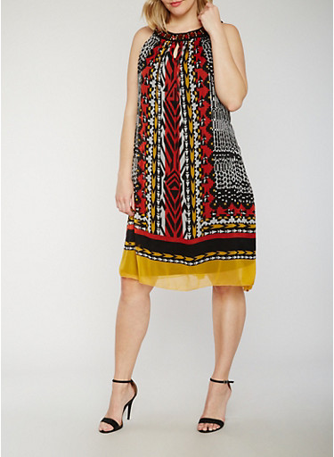 Plus Size Sleeveless Printed Shift Dress with Jewel Collar,MULTI BLACK,large