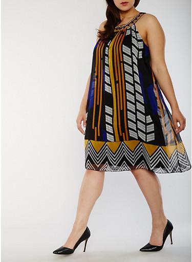 Plus Size Printed Halter Neck Dress,MUSTARD/ROYAL,large
