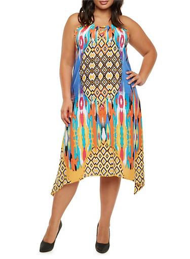 Plus Size Printed Maxi Dress with Shark Bite Hem,MULTI COLOR,large