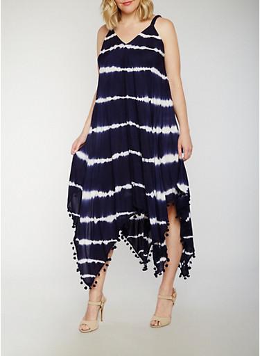 Plus Size Tie Dye Maxi Dress with Pom Pom Fringe Hem,NAVY,large