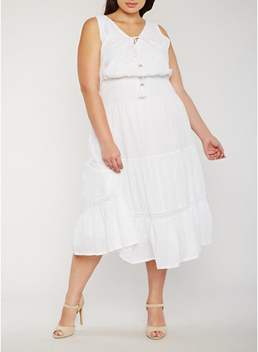 Plus Size Peasant Sundress with Crochet Inserts,WHITE,large