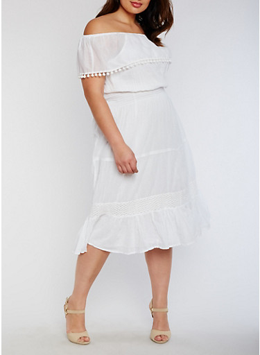 Plus Size Off the Shoulder Peasant Dress with Pom Pom Trim Overlay,WHITE,large
