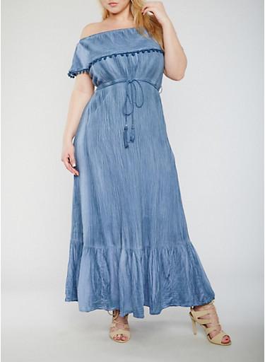 Plus Size Off The Shoulder Maxi Dress with Pom Pom Trim,DENIM/WASH,large