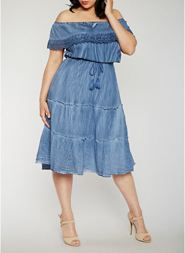 Plus Size Off the Shoulder Peasant Dress with Overlay,DENIM/WASH,large