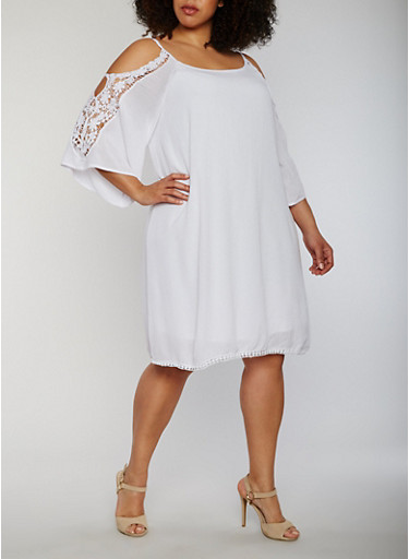 Plus Size Cold Shoulder Lace Trim Dress,WHITE,large