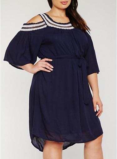 Plus Size Belted Cold Shoulder Dress with Crochet Trim,NAVY,large