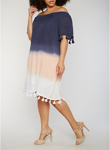 Plus Size Off the Shoulder Peasant Dress with Tassel Trim,NAVY,large