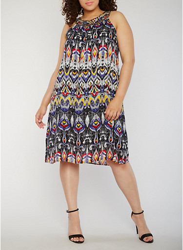 Plus Size Printed Dress with Studded Collar Neckline,MULTI PRINT,large