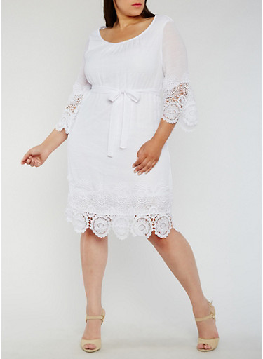 Plus Size Belted Gauze Knit Dress with Crochet Trim,WHITE,large
