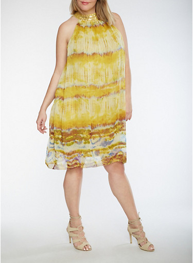 Plus Size Printed Dress with Beaded Neckline,MUSTARD,large