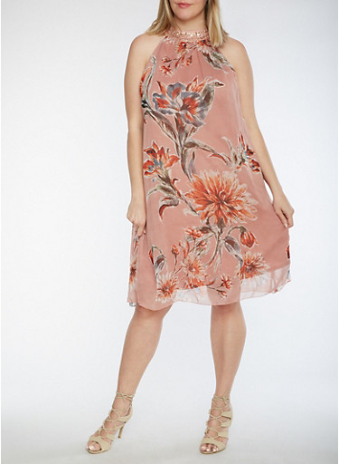 Plus Size Sleeveless Floral Printed Dress with Sequined Neckline,MAUVE,large