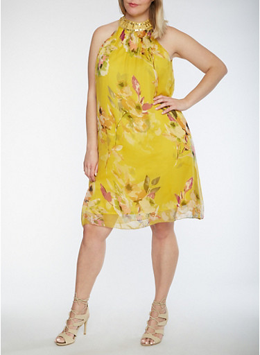 Plus Size Sleeveless Floral Print Dress with Jeweled Neckline,MUSTARD,large
